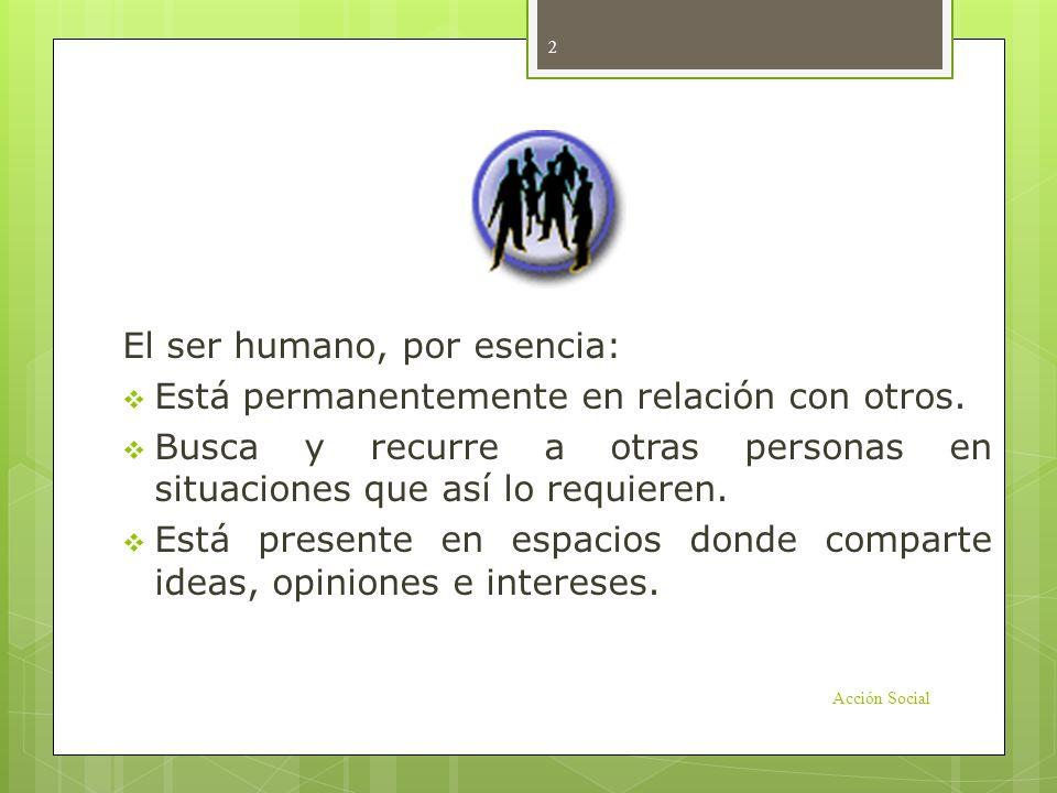 Introducción El ser humano, por esencia: Está permanentemente en relación con otros. Busca y recurre a otras personas en situaciones que así lo requie
