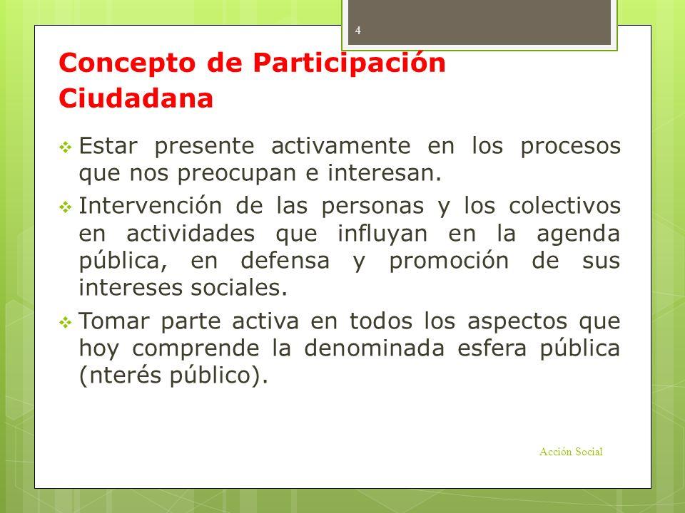 Concepto de Participación Ciudadana Estar presente activamente en los procesos que nos preocupan e interesan. Intervención de las personas y los colec