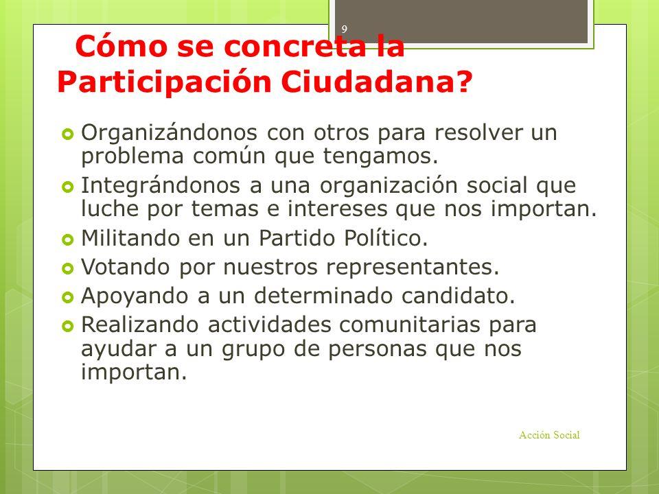 Organizaciones: espacio estratégico de Participación La Participación Ciudadana opera en los ámbitos: Político: acción voluntaria de los ciudadanos de elegir a sus representantes y de influir directa o indirectamente en la agenda pública.