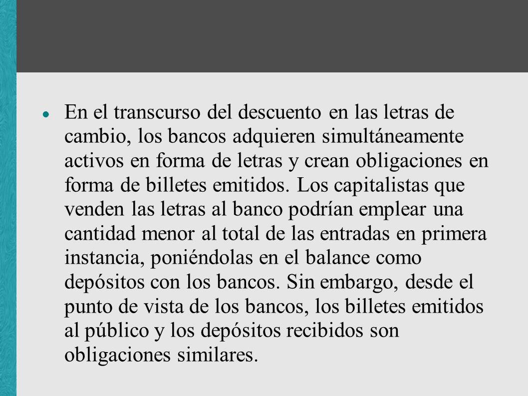 En el transcurso del descuento en las letras de cambio, los bancos adquieren simultáneamente activos en forma de letras y crean obligaciones en forma