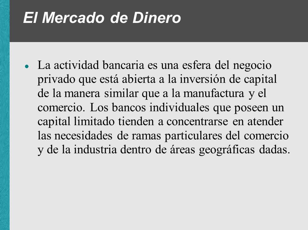 El Mercado de Dinero La actividad bancaria es una esfera del negocio privado que está abierta a la inversión de capital de la manera similar que a la