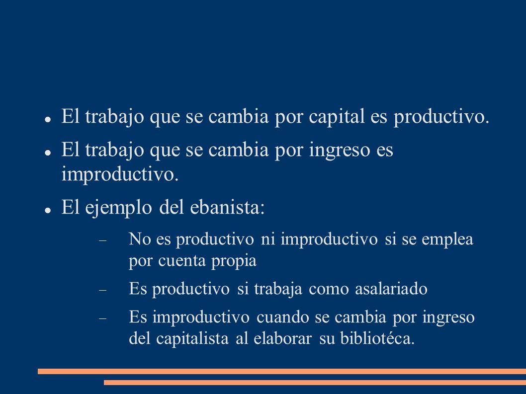 Trabajo manual y trabajo intelectual La diferencia entre trabajos según su carácter manual o intelectual no determina su productividad o improductividad para el capital.