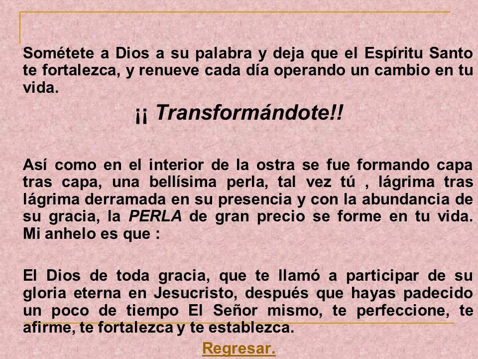 Sométete a Dios a su palabra y deja que el Espíritu Santo te fortalezca, y renueve cada día operando un cambio en tu vida. ¡¡ Transformándote!! Así co
