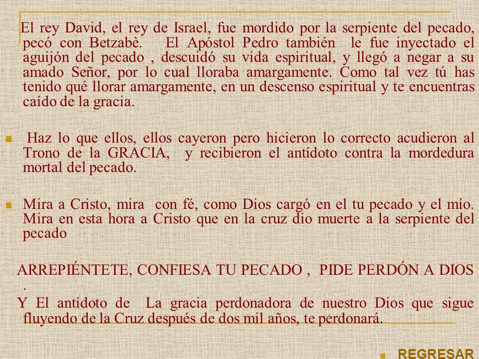 El rey David, el rey de Israel, fue mordido por la serpiente del pecado, pecó con Betzabè. El Apóstol Pedro también le fue inyectado el aguijón del pe