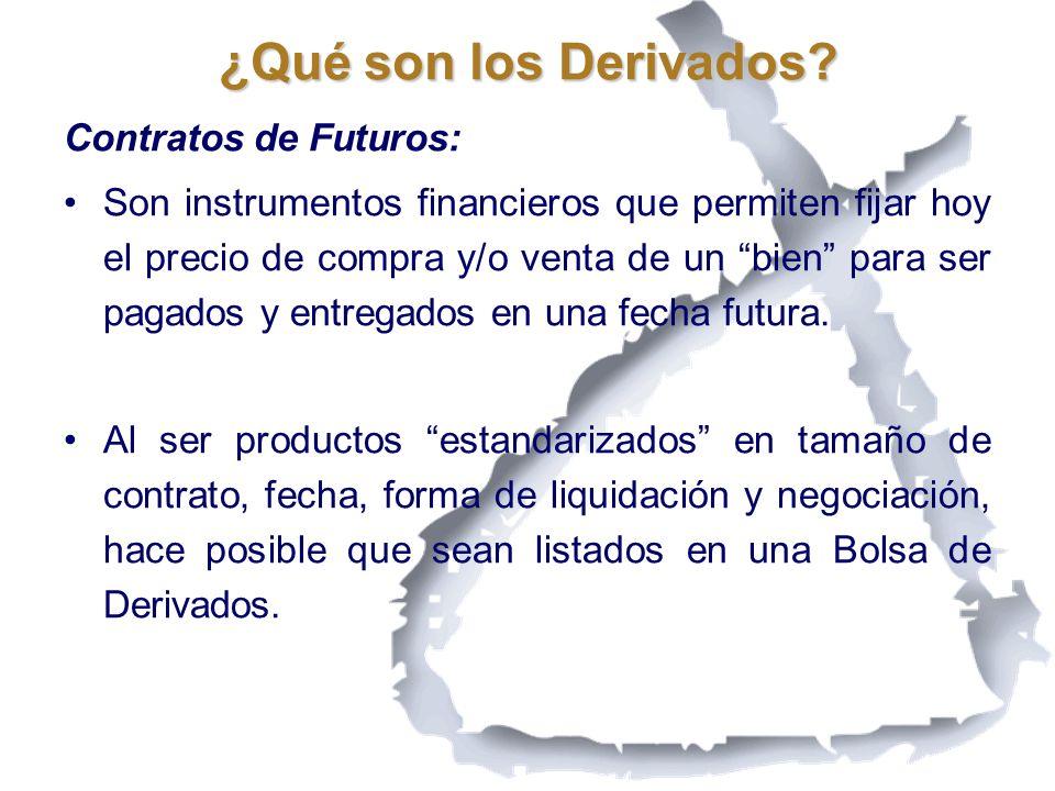Contratos de Futuros: Son instrumentos financieros que permiten fijar hoy el precio de compra y/o venta de un bien para ser pagados y entregados en un