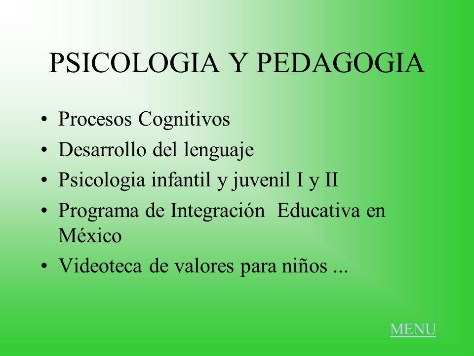 PSICOLOGIA Y PEDAGOGIA Procesos Cognitivos Desarrollo del lenguaje Psicologia infantil y juvenil I y II Programa de Integración Educativa en México Vi