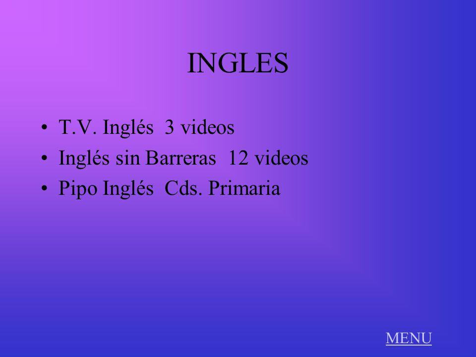 INGLES T.V. Inglés 3 videos Inglés sin Barreras 12 videos Pipo Inglés Cds. Primaria MENU