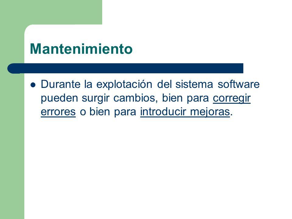 Mantenimiento Durante la explotación del sistema software pueden surgir cambios, bien para corregir errores o bien para introducir mejoras.corregir er