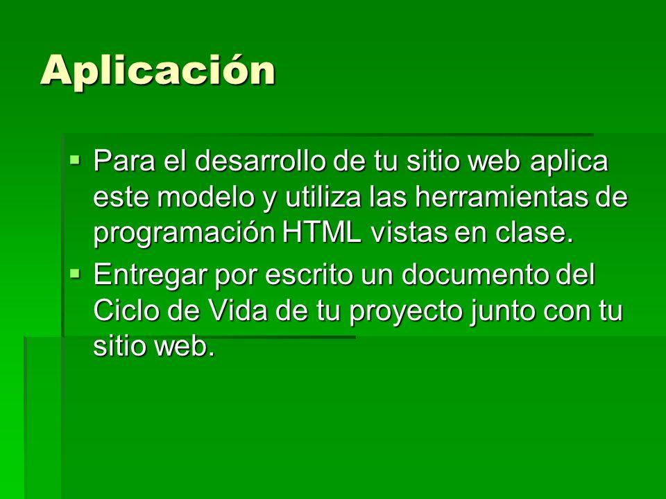 Aplicación Para el desarrollo de tu sitio web aplica este modelo y utiliza las herramientas de programación HTML vistas en clase. Para el desarrollo d