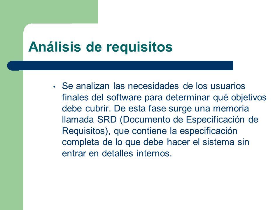 Análisis de requisitos Se analizan las necesidades de los usuarios finales del software para determinar qué objetivos debe cubrir. De esta fase surge