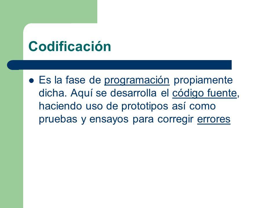 Codificación Es la fase de programación propiamente dicha. Aquí se desarrolla el código fuente, haciendo uso de prototipos así como pruebas y ensayos