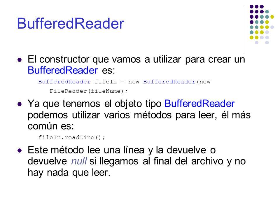 BufferedReader Es importante recordar cuando trabajamos con archivos que cada que leemos o escribimos a un archivo debemos hacerlo dentro de un try.