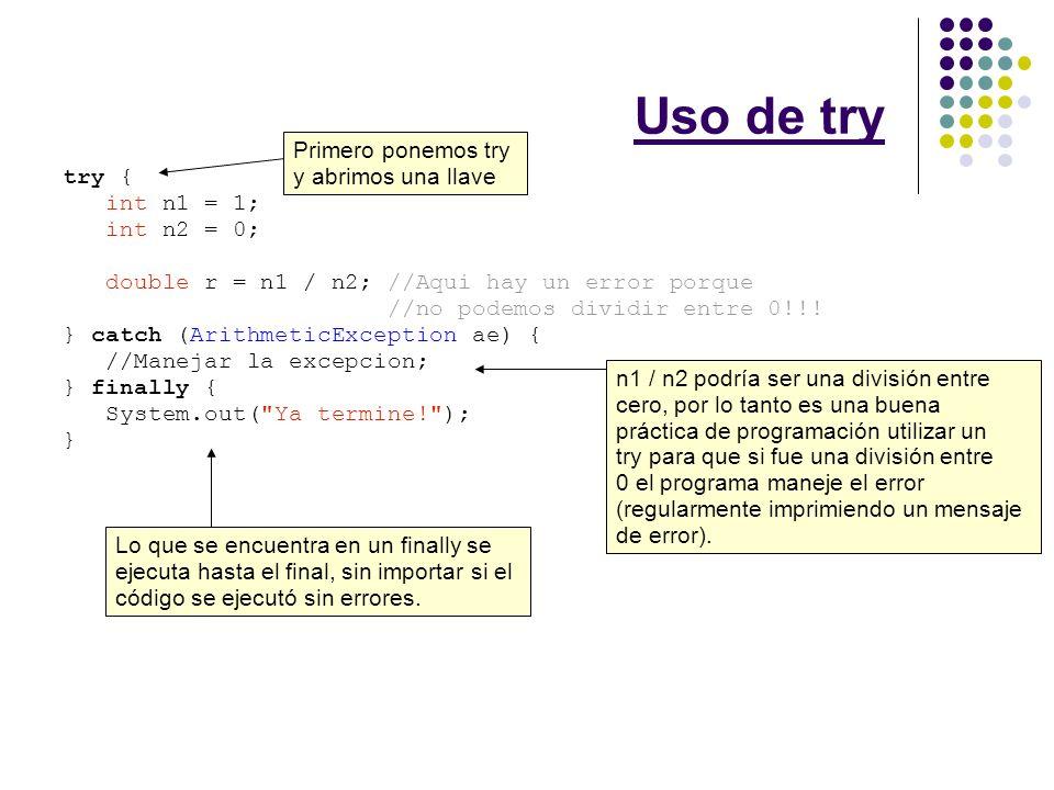 BufferedReader Los dos tipos de excepciones que debemos atrapar al leer archivos son IOException (se genera normalmente porque el disco está lleno o protegido contra escritura/lectura) y FileNotFoundException (se genera porque el nombre de archivo no es válido) try { BufferedReader fileIn = new BufferedReader( new FileReader(fileName)); String s = fileIn.readLine(); } catch (IOException ioe) { } catch (FileNotFoundException fnfe) { }