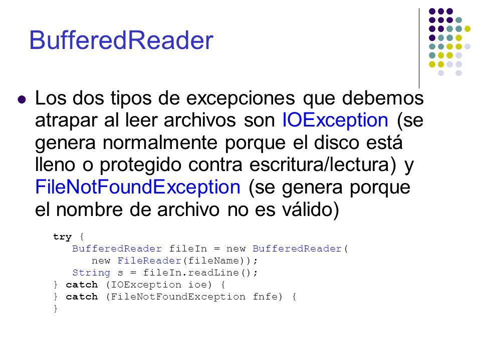 String fileName = Texto.txt ; PrintWriter fileOut = null; try { fileOut = new PrintWriter(new FileWriter(fileName)); String s = Una linea de texto ; fileOut.println(s); fileOut.flush(); } catch (IOException ioe) { System.out( Error, disco protegido contra lectura ); } catch (FileNotFoundException fnfe) { System.out( Error, no se encuentra el archivo ); } finally { if (fileIn != null) { try { fileIn.close(); } catch (IOException ioe) { }