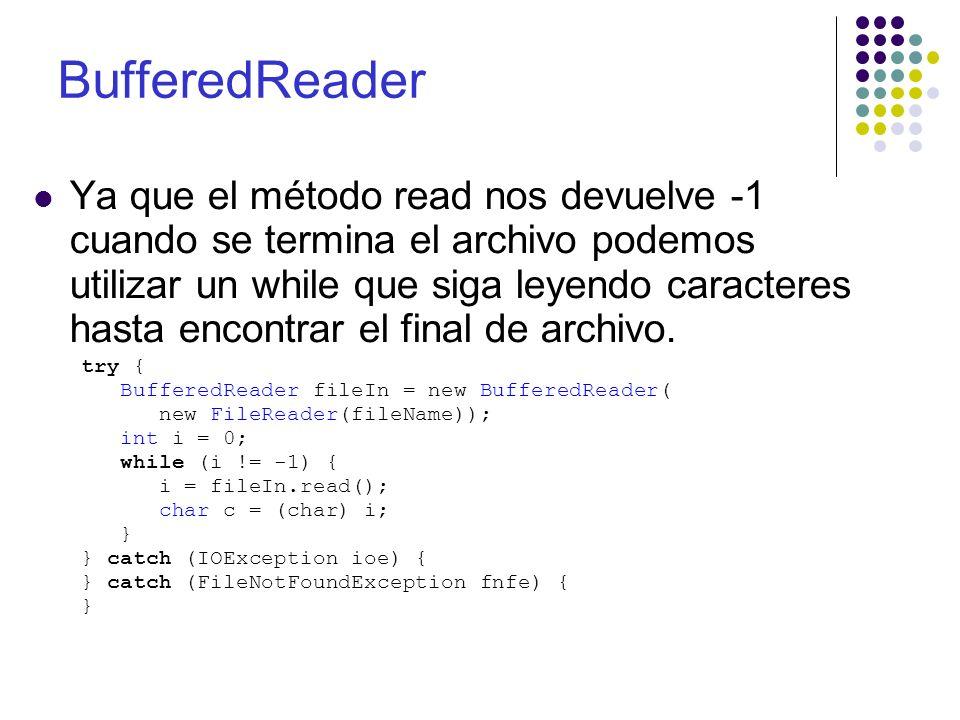 BufferedReader Ya que el método read nos devuelve -1 cuando se termina el archivo podemos utilizar un while que siga leyendo caracteres hasta encontra