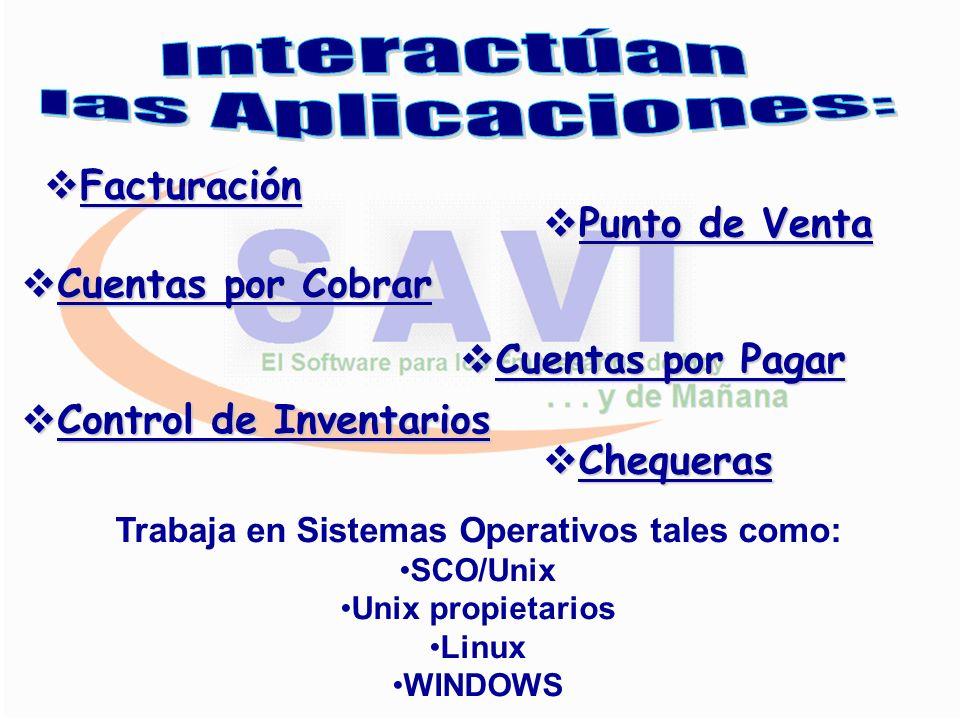 Trabaja en Sistemas Operativos tales como: SCO/Unix Unix propietarios Linux WINDOWS Cuentas por Pagar Chequeras Punto de Venta Cuentas por Cobrar Control de Inventarios Facturación