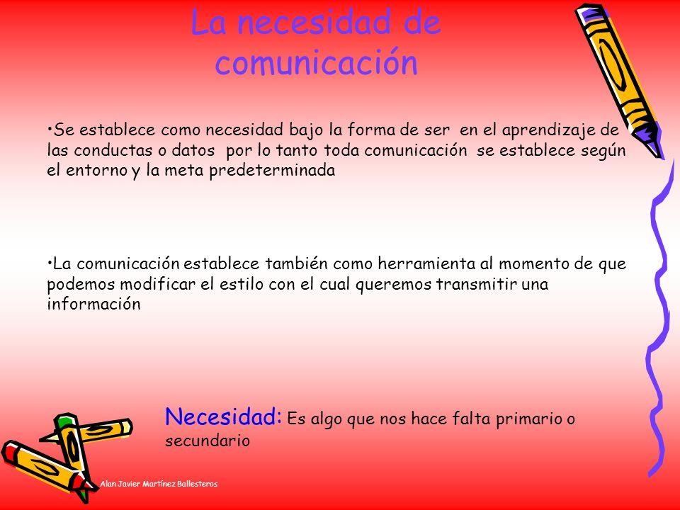 Alan Javier Martínez Ballesteros La necesidad de comunicación Se establece como necesidad bajo la forma de ser en el aprendizaje de las conductas o da