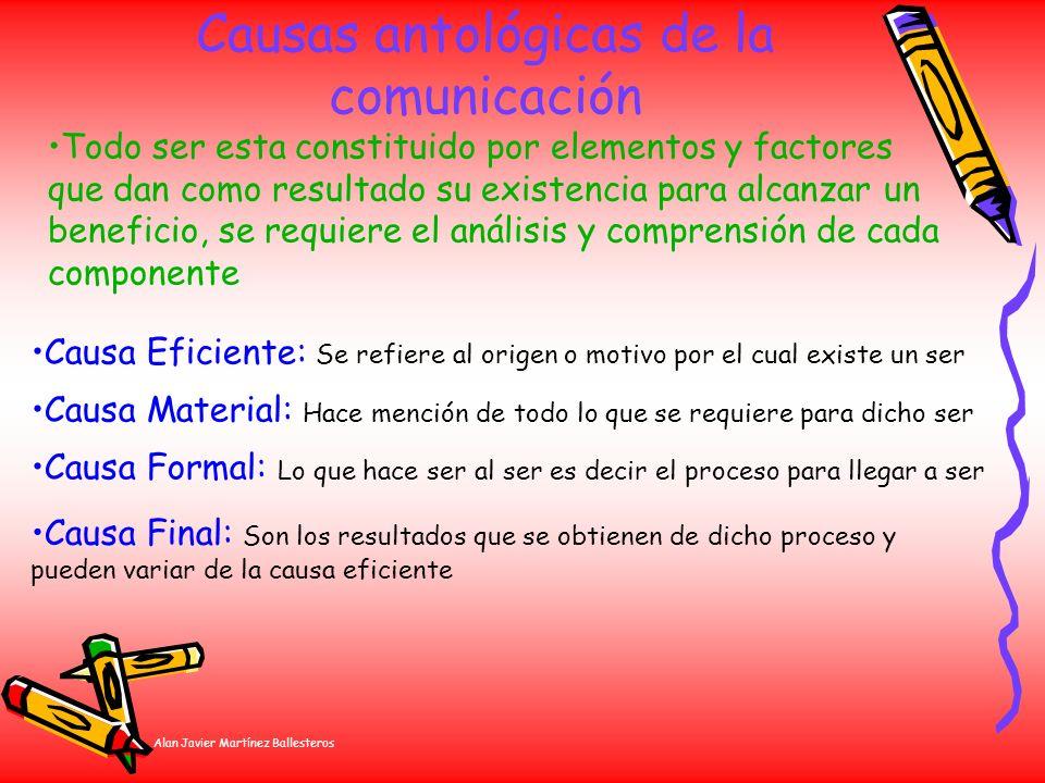 Alan Javier Martínez Ballesteros Causas antológicas de la comunicación Todo ser esta constituido por elementos y factores que dan como resultado su ex