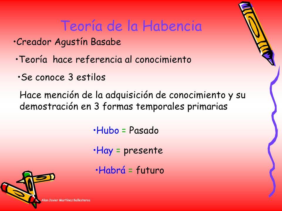 Alan Javier Martínez Ballesteros Teoría de la Habencia Creador Agustín Basabe Teoría hace referencia al conocimiento Se conoce 3 estilos Hace mención