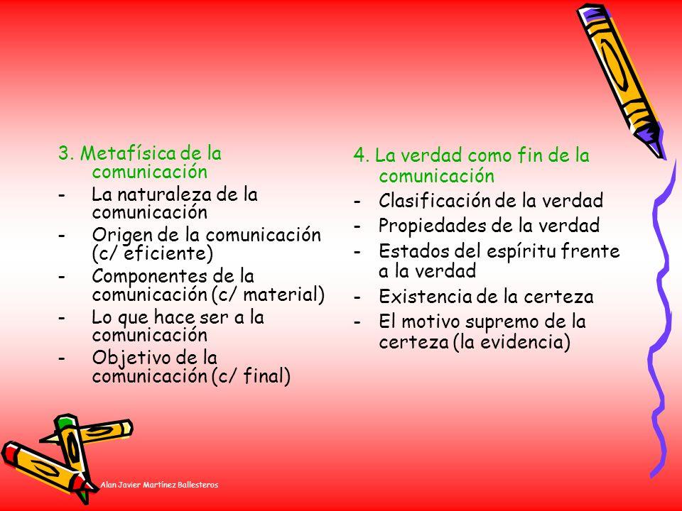 Alan Javier Martínez Ballesteros 3. Metafísica de la comunicación -La naturaleza de la comunicación -Origen de la comunicación (c/ eficiente) -Compone