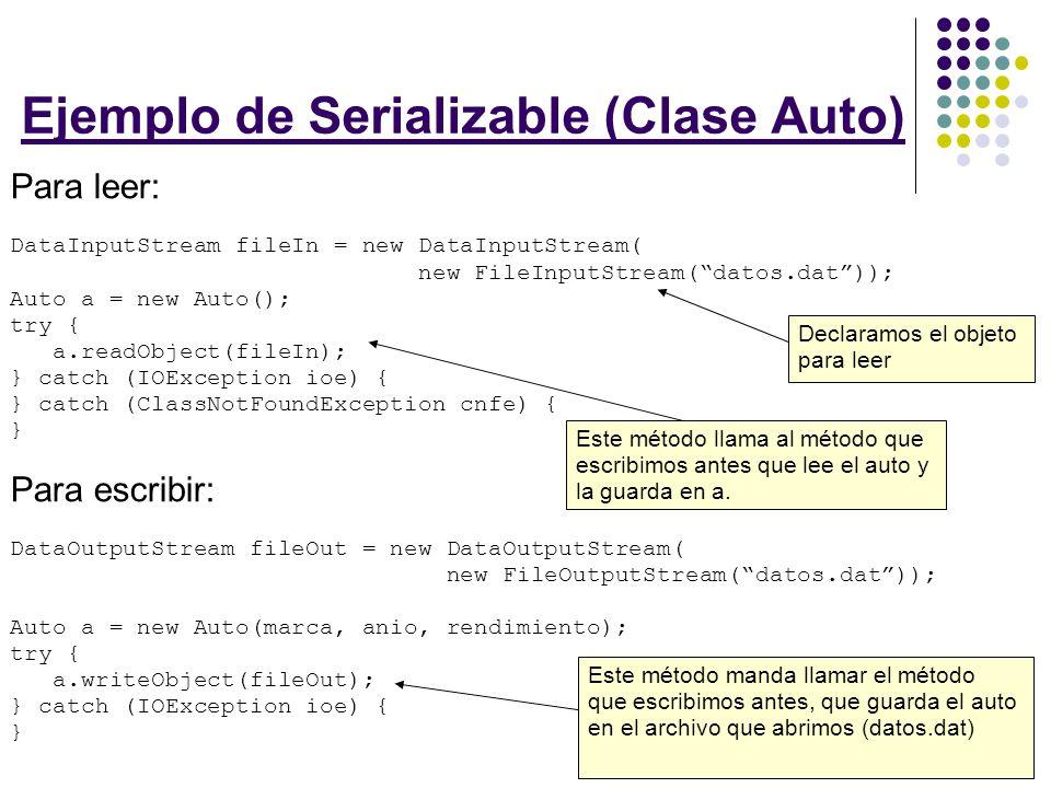 Un pequeño ejercicio: ¿Cómo implementarías Serializable en la clase Alumno que utilizamos en la presentación pasada.