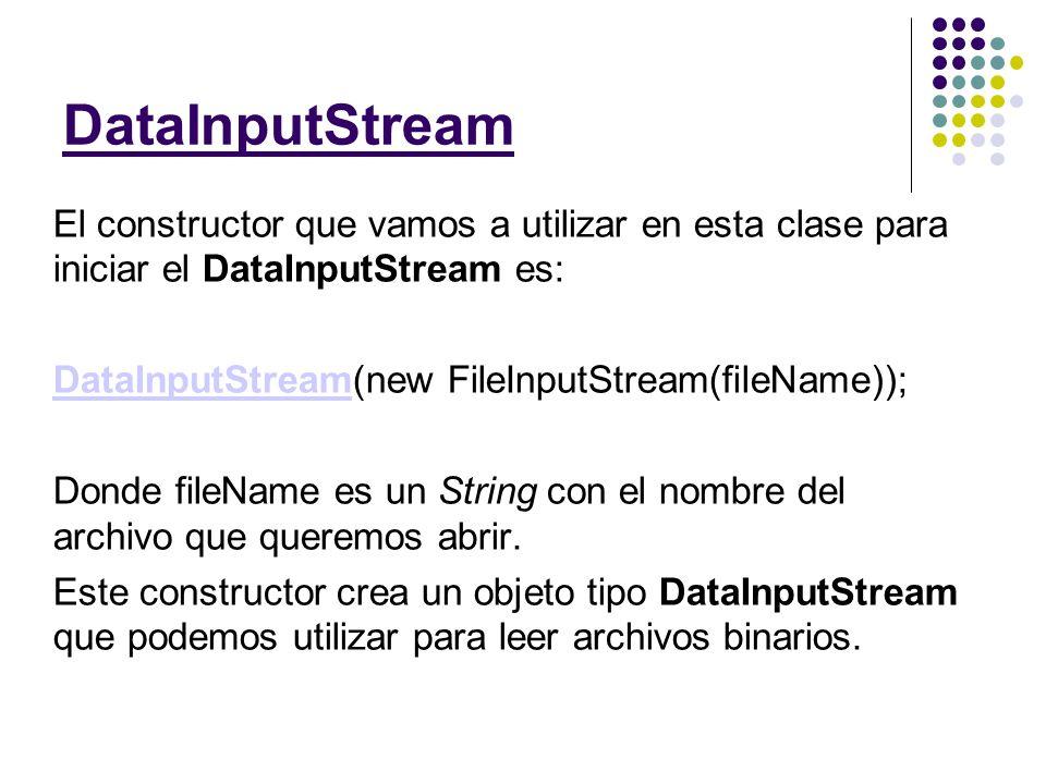Los métodos más útiles de DataInputStream son: String readUTF() byte readByte() int readInt() long readLong() double readDouble() short readShort() boolean readBoolean() Como pudiste ver estos métodos sirven para leer los diferentes tipos de datos que hemos manejado en clase.