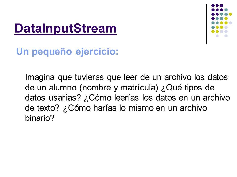 El constructor que vamos a utilizar en esta clase para iniciar el DataOutputStream es: DataOutputStreamDataOutputStream(new FileOutputStream(fileName)); Como puedes observar el constructor es muy similar al anterior ya que en esencia funciona de la misma manera.