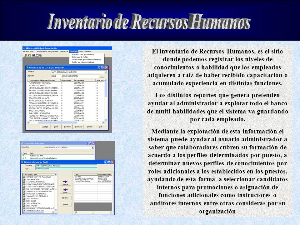 El inventario de Recursos Humanos, es el sitio donde podemos registrar los niveles de conocimientos o habilidad que los empleados adquieren a raíz de