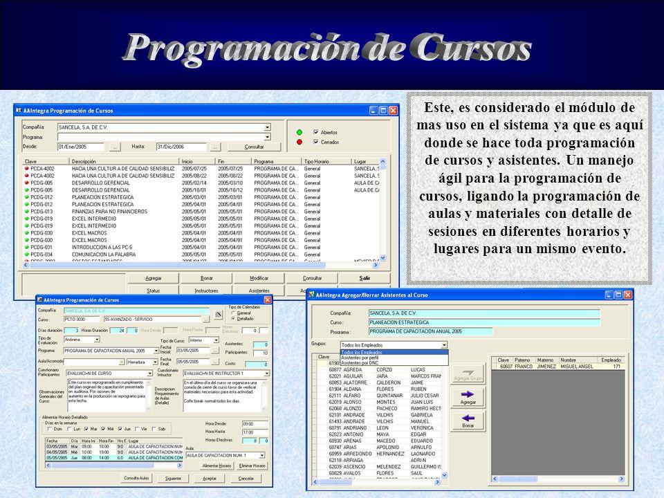 Este, es considerado el módulo de mas uso en el sistema ya que es aquí donde se hace toda programación de cursos y asistentes. Un manejo ágil para la