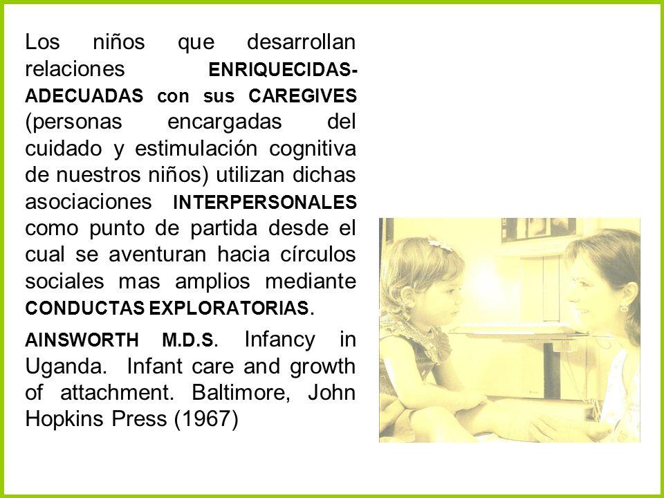 Los niños que desarrollan relaciones ENRIQUECIDAS- ADECUADAS con sus CAREGIVES (personas encargadas del cuidado y estimulación cognitiva de nuestros n