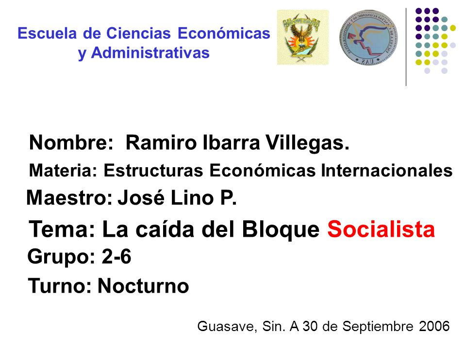 Tema: La caída del Bloque Socialista Nombre: Ramiro Ibarra Villegas. Grupo: 2-6 Maestro: José Lino P. Turno: Nocturno Materia: Estructuras Económicas