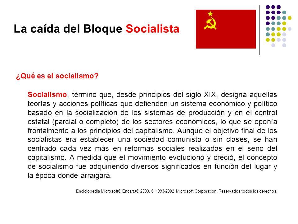 La caída del Bloque Socialista ¿Qué es el socialismo? Socialismo, término que, desde principios del siglo XIX, designa aquellas teorías y acciones pol