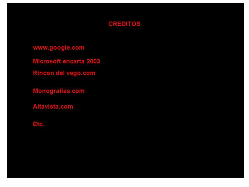 CREDITOS www.google.com Microsoft encarta 2003 Rincon del vago.com Altavista.com Monografias.com Etc.