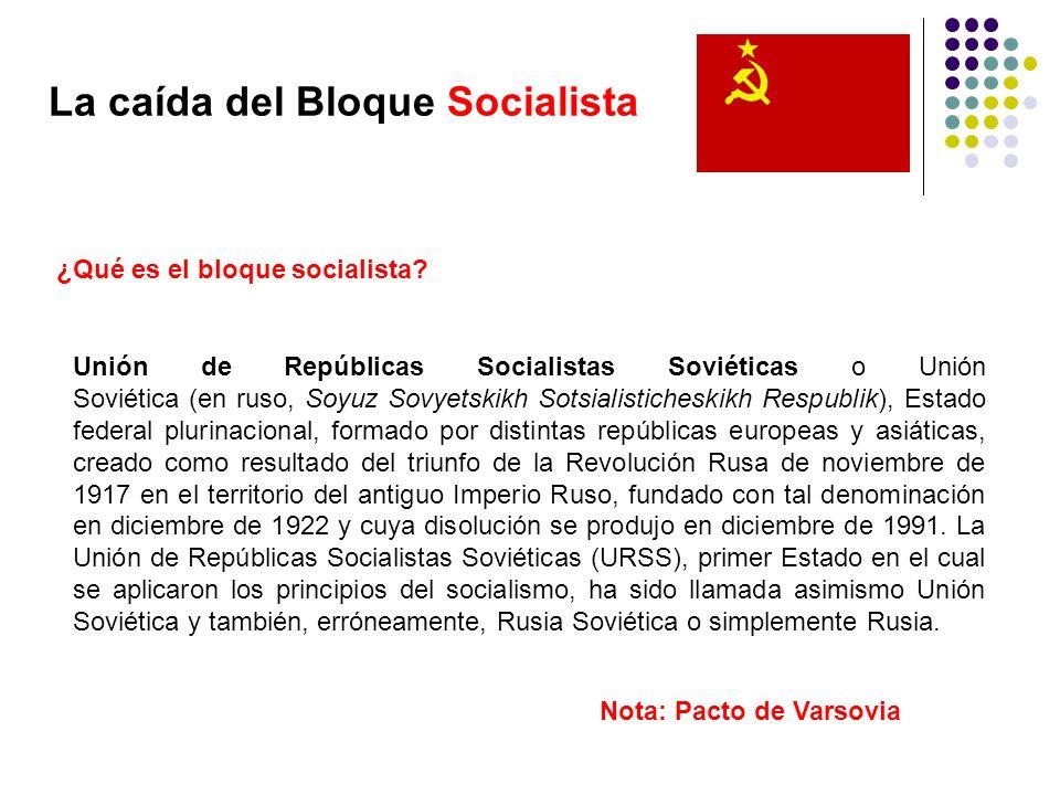 La caída del Bloque Socialista ¿Qué es el bloque socialista? Unión de Repúblicas Socialistas Soviéticas o Unión Soviética (en ruso, Soyuz Sovyetskikh