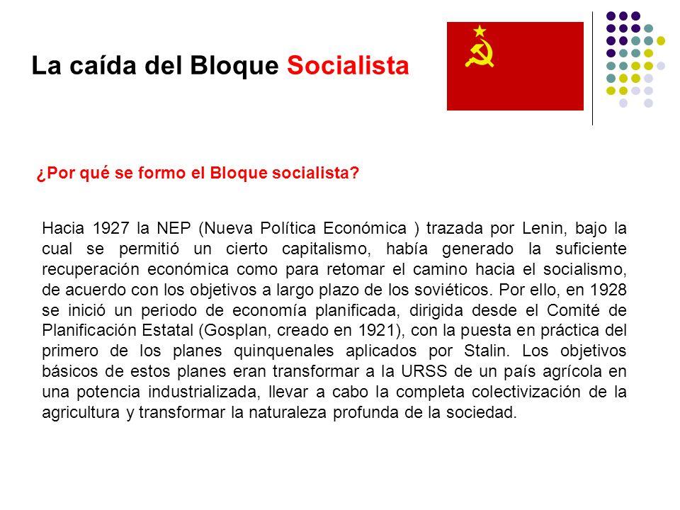 La caída del Bloque Socialista ¿Por qué se formo el Bloque socialista? Hacia 1927 la NEP (Nueva Política Económica ) trazada por Lenin, bajo la cual s
