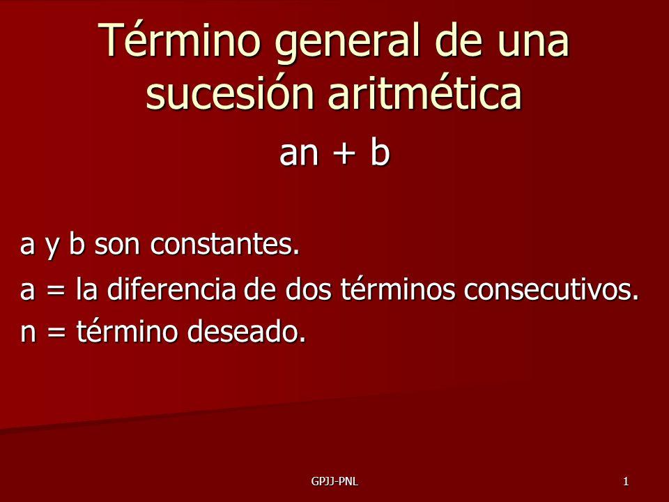 GPJJ-PNL1 Término general de una sucesión aritmética an + b a y b son constantes. a = la diferencia de dos términos consecutivos. n = término deseado.