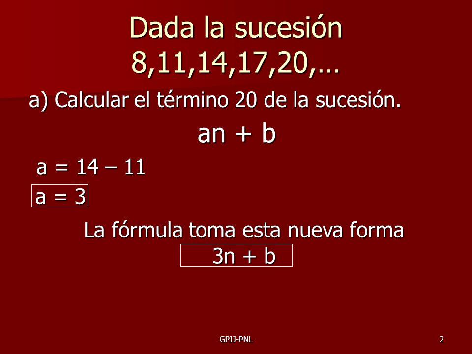 GPJJ-PNL2 Dada la sucesión 8,11,14,17,20,… a) Calcular el término 20 de la sucesión. an + b a = 14 – 11 a = 3 La fórmula toma esta nueva forma 3n + b