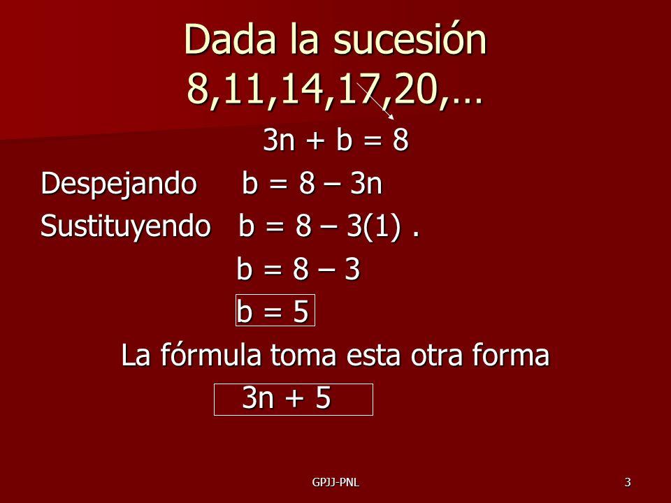 3 Dada la sucesión 8,11,14,17,20,… 3n + b = 8 Despejando b = 8 – 3n Sustituyendo b = 8 – 3(1). b = 8 – 3 b = 5 La fórmula toma esta otra forma 3n + 5