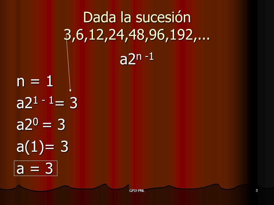3 Dada la sucesión 3,6,12,24,48,96,192,... a2n -1 n = 1 a21 - 1= 3 a20 = 3 a(1)= 3 a = 3