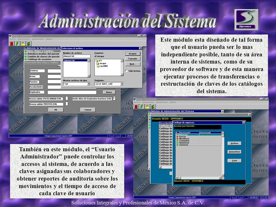 Soluciones Integrales y Profesionales de México S.A. de C.V. Este módulo esta diseñado de tal forma que el usuario pueda ser lo mas independiente posi