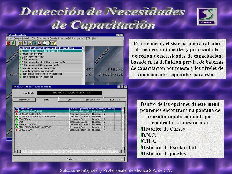 Soluciones Integrales y Profesionales de México S.A. de C.V. En este menú, el sistema podrá calcular de manera automática y priorizada la detección de
