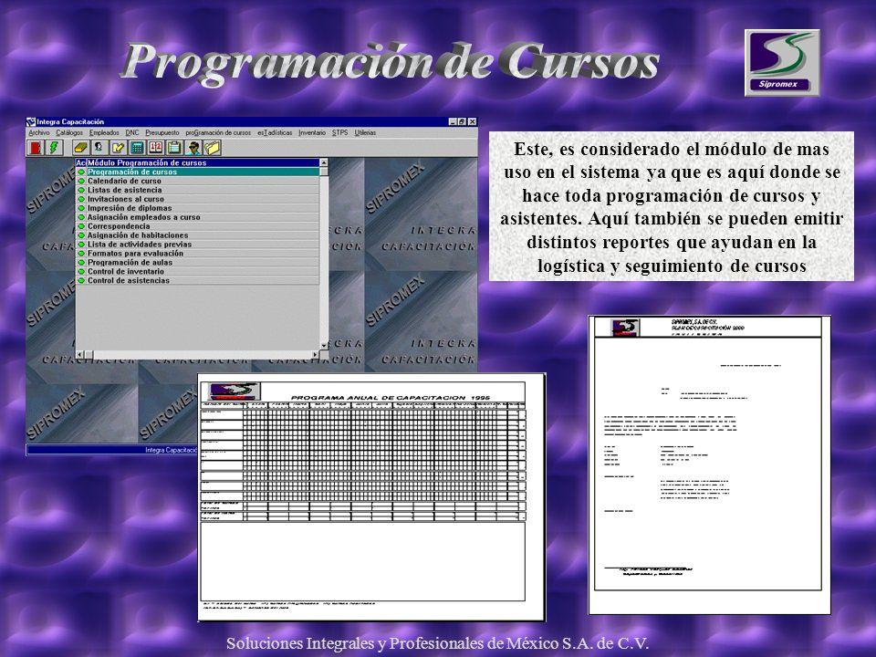Soluciones Integrales y Profesionales de México S.A. de C.V. Este, es considerado el módulo de mas uso en el sistema ya que es aquí donde se hace toda
