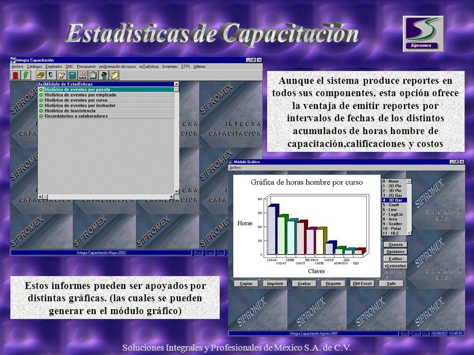 Soluciones Integrales y Profesionales de México S.A. de C.V. Aunque el sistema produce reportes en todos sus componentes, esta opción ofrece la ventaj