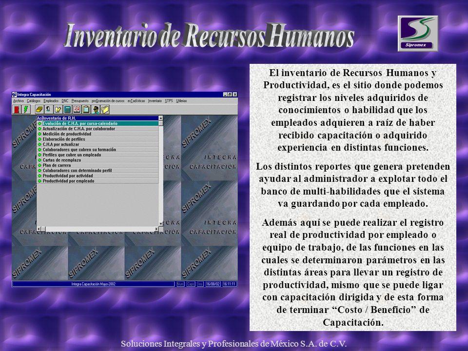 Soluciones Integrales y Profesionales de México S.A. de C.V. El inventario de Recursos Humanos y Productividad, es el sitio donde podemos registrar lo