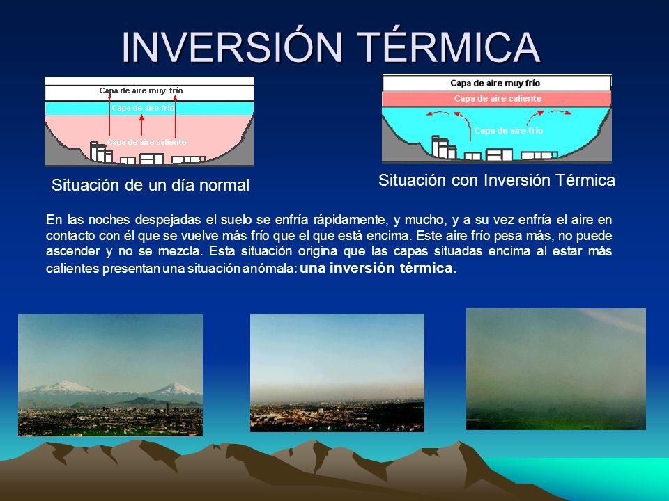INVERSIÓN TÉRMICA Situación de un día normal Situación con Inversión Térmica En las noches despejadas el suelo se enfría rápidamente, y mucho, y a su