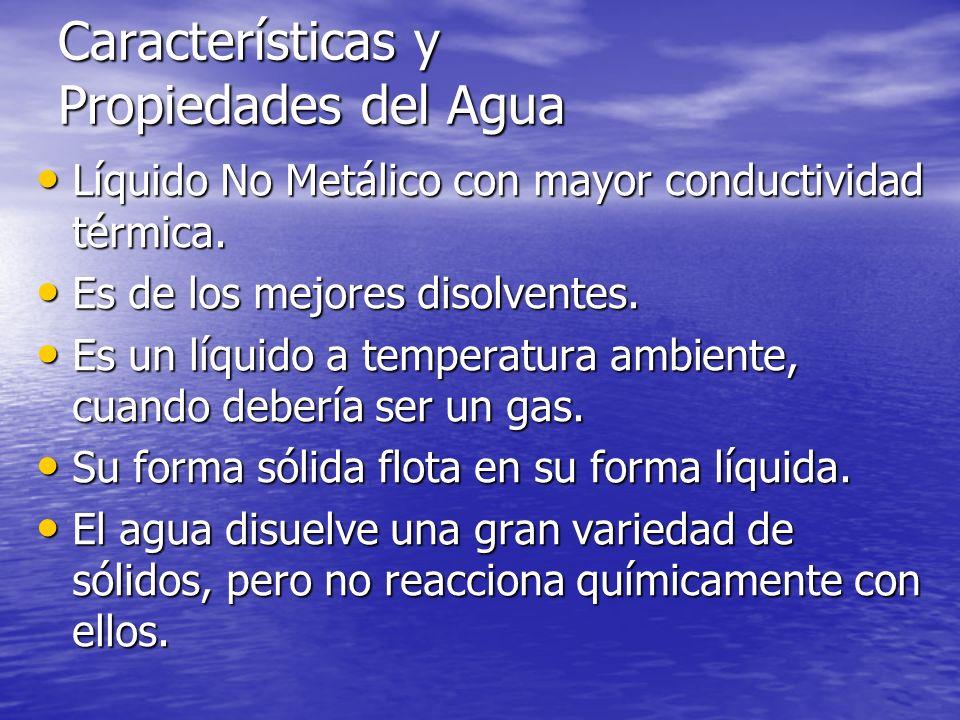 Características y Propiedades del Agua Líquido No Metálico con mayor conductividad térmica. Líquido No Metálico con mayor conductividad térmica. Es de