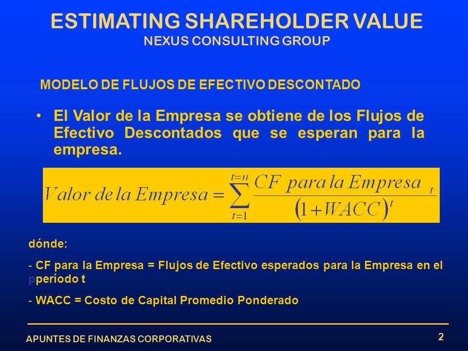 APUNTES DE FINANZAS CORPORATIVAS ESTIMATING SHAREHOLDER VALUE NEXUS CONSULTING GROUP 2 MODELO DE FLUJOS DE EFECTIVO DESCONTADO El Valor de la Empresa