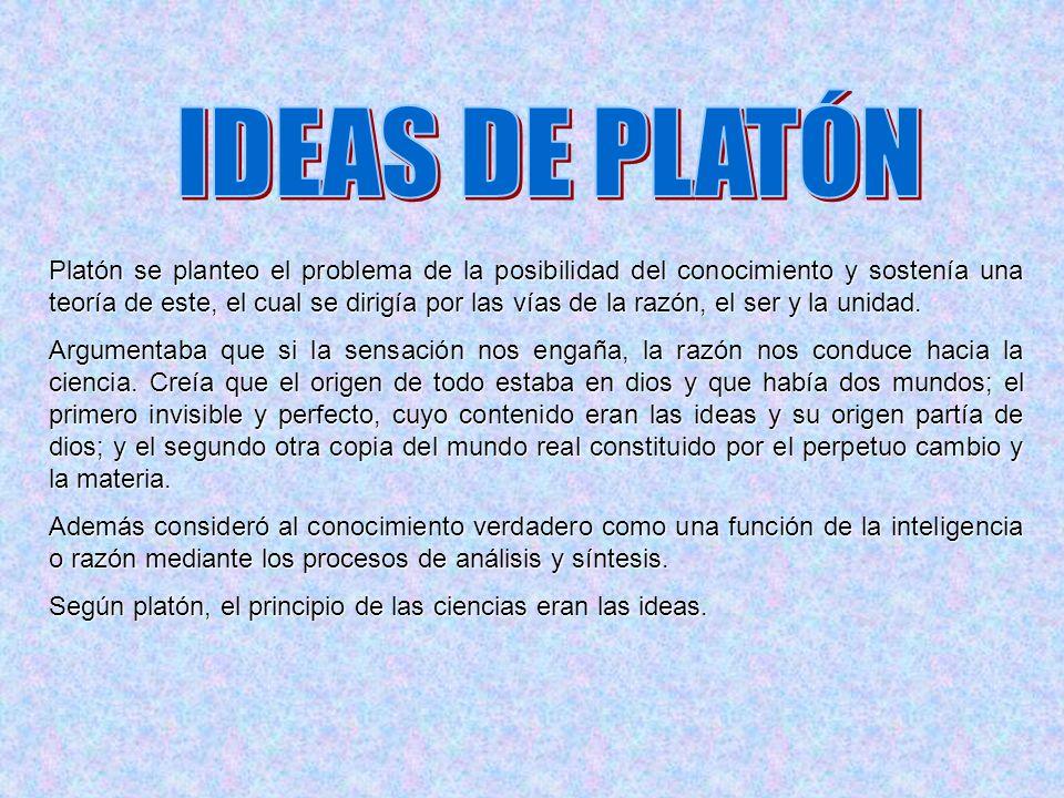 Platón se planteo el problema de la posibilidad del conocimiento y sostenía una teoría de este, el cual se dirigía por las vías de la razón, el ser y