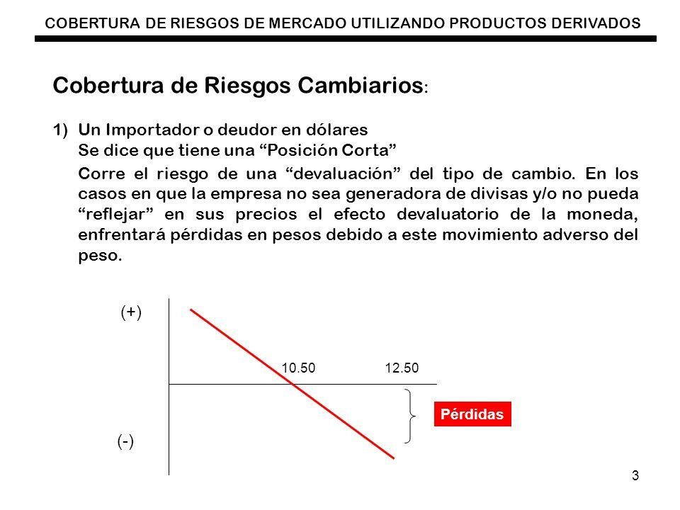 COBERTURA DE RIESGOS DE MERCADO UTILIZANDO PRODUCTOS DERIVADOS 3 Cobertura de Riesgos Cambiarios : 1)Un Importador o deudor en dólares Se dice que tie