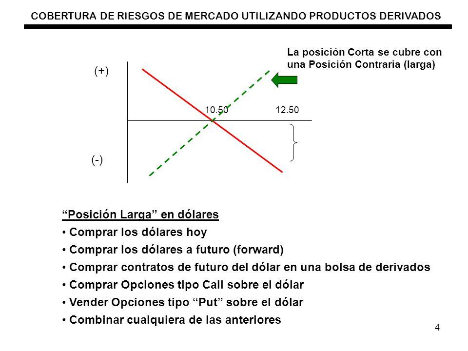 COBERTURA DE RIESGOS DE MERCADO UTILIZANDO PRODUCTOS DERIVADOS 4 10.5012.50 (+) (-) La posición Corta se cubre con una Posición Contraria (larga) Posi